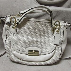 Coach White Basket Weave Leather Bag